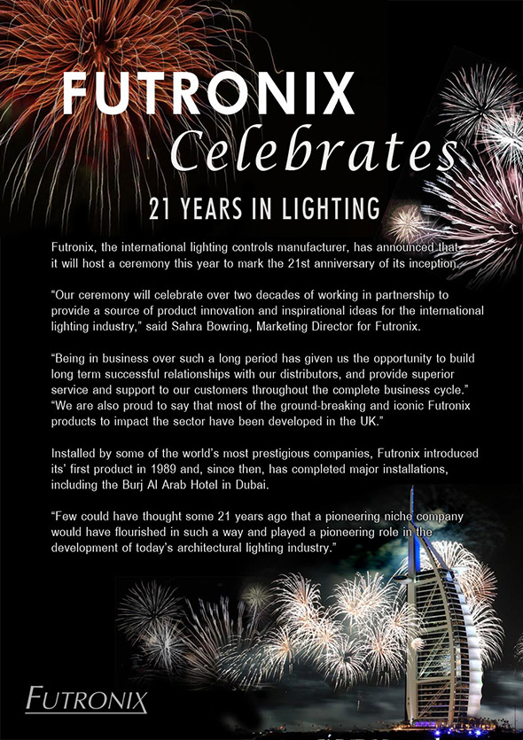 Futronix Celebrates 21 Years in Lighting