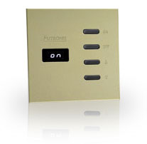 The Futronix P100, two channel dimmer, in a sparkling metallic Champagne finish