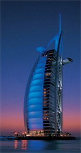 A view of the Burj Al Arab Hotel as night falls