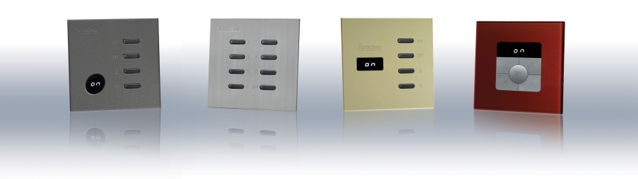 Wall switches for Futronix Enviroscene dimmers and lighting controller.