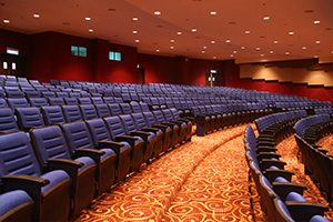 Malaysian Airlines contemporary auditorium uses Futronix dimmer switches and LED dimmer controls throughout.