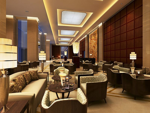 Dimmer shown creating the atmosphere in the lobby lounge at the WH Ming hotel.