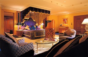 Dimmer is shown controlling the lighting in a bedroom suite at the Burj Al Arab.