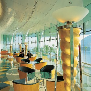 Dimmer is shown controlling the lighting in a suite's lounge at the Burj Al Arab.