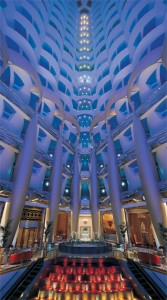 Dimmers and lighting controls operate the lighting at the stunning lobby at the Burj Al Arab.