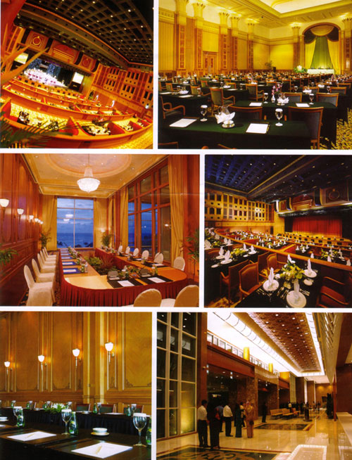 A montage of images showing the facilities at the Empire hotel, Brunei.