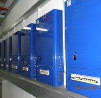 Racks of Futronix dimmers shown in an electrical room adjacent to the Ballroom.