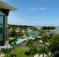 View of the outside grounds of the Empire hotel resort.
